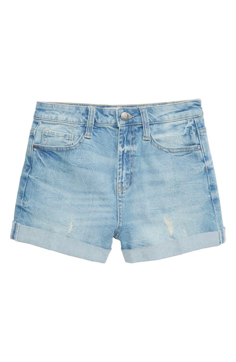 TREASURE & BOND High Waist Roll Cuff Shorts, Main, color, VINTAGE WASH