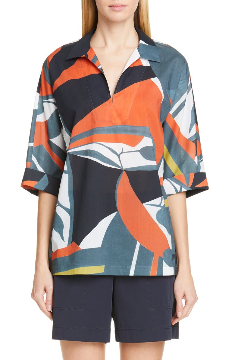 Nicole Artisan Abstract Print Top by Lafayette 148 New York
