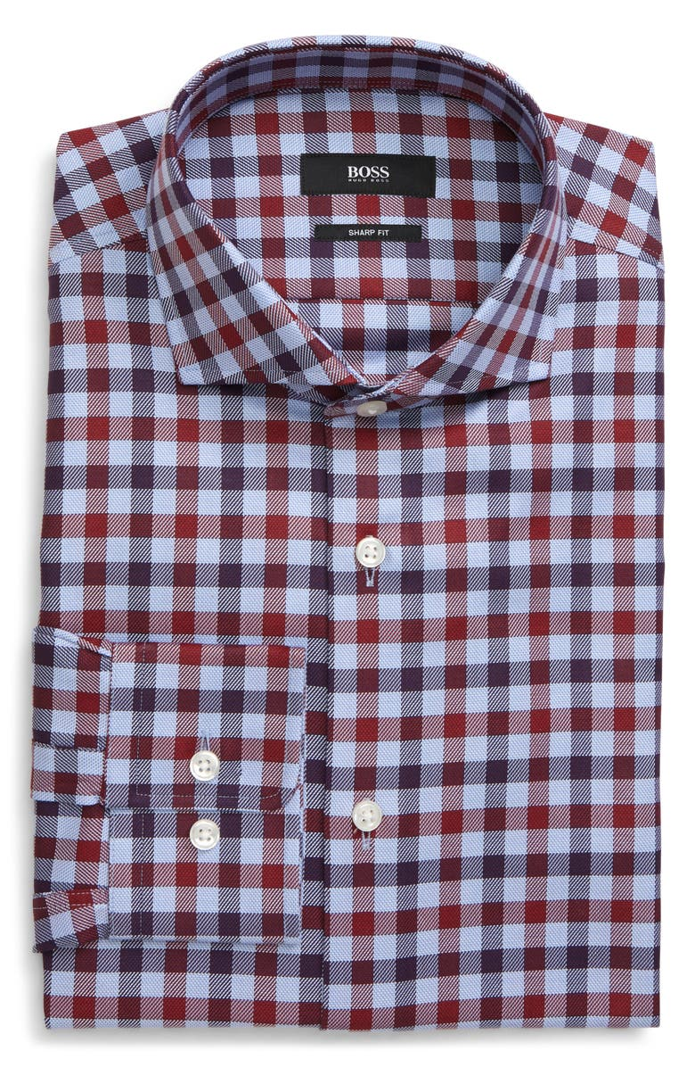 BOSS Mark Trim Fit Check Dress Shirt, Main, color, RED