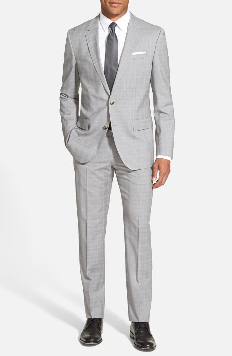 ZZDNUHUGO BOSS BOSS Trim Fit Windowpane Wool Suit, Main, color, 030