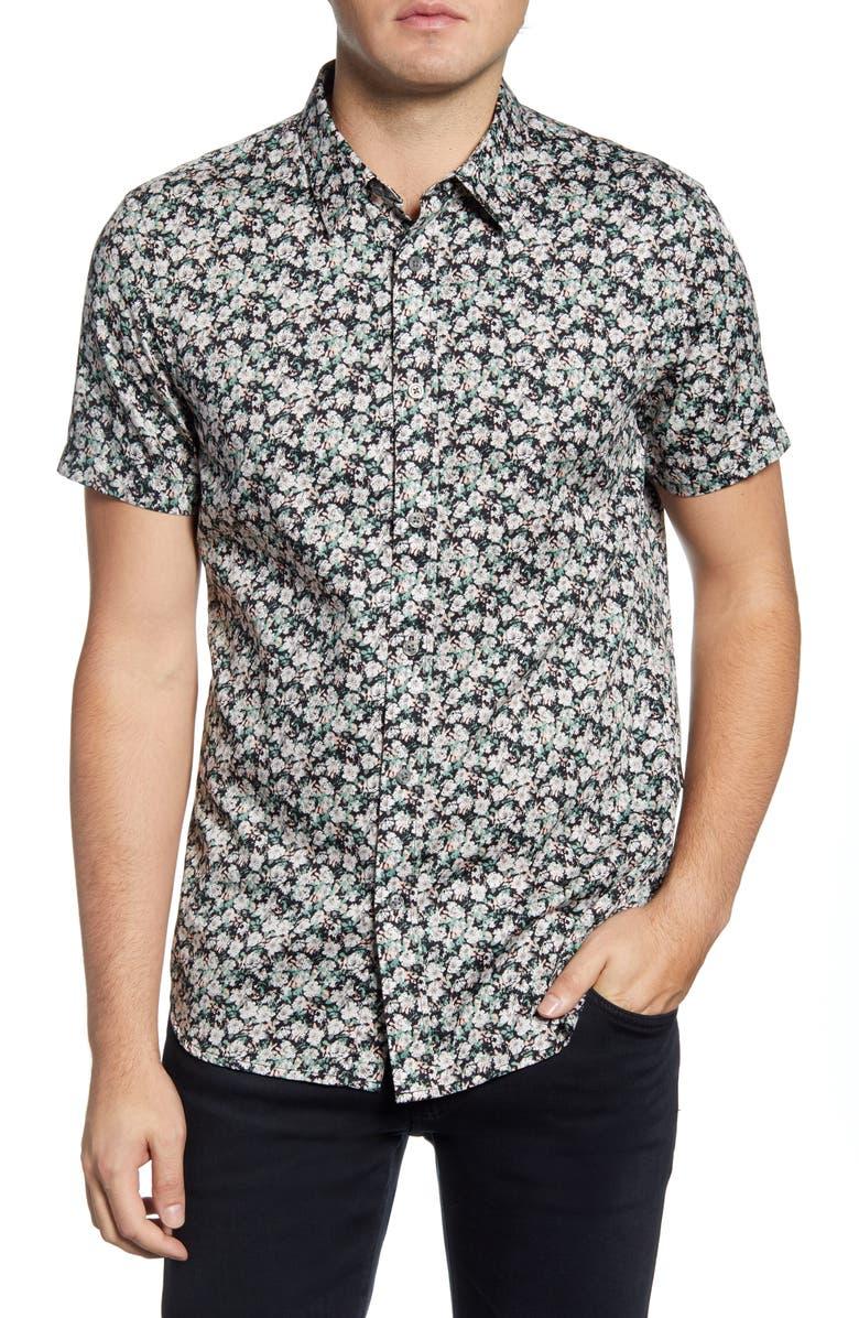 JOHN VARVATOS STAR USA Doug Floral Short Sleeve Button-Up Shirt, Main, color, SEA GREEN