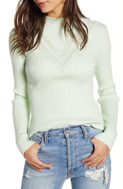English Factory Mini Ruffle Sweater In Mint