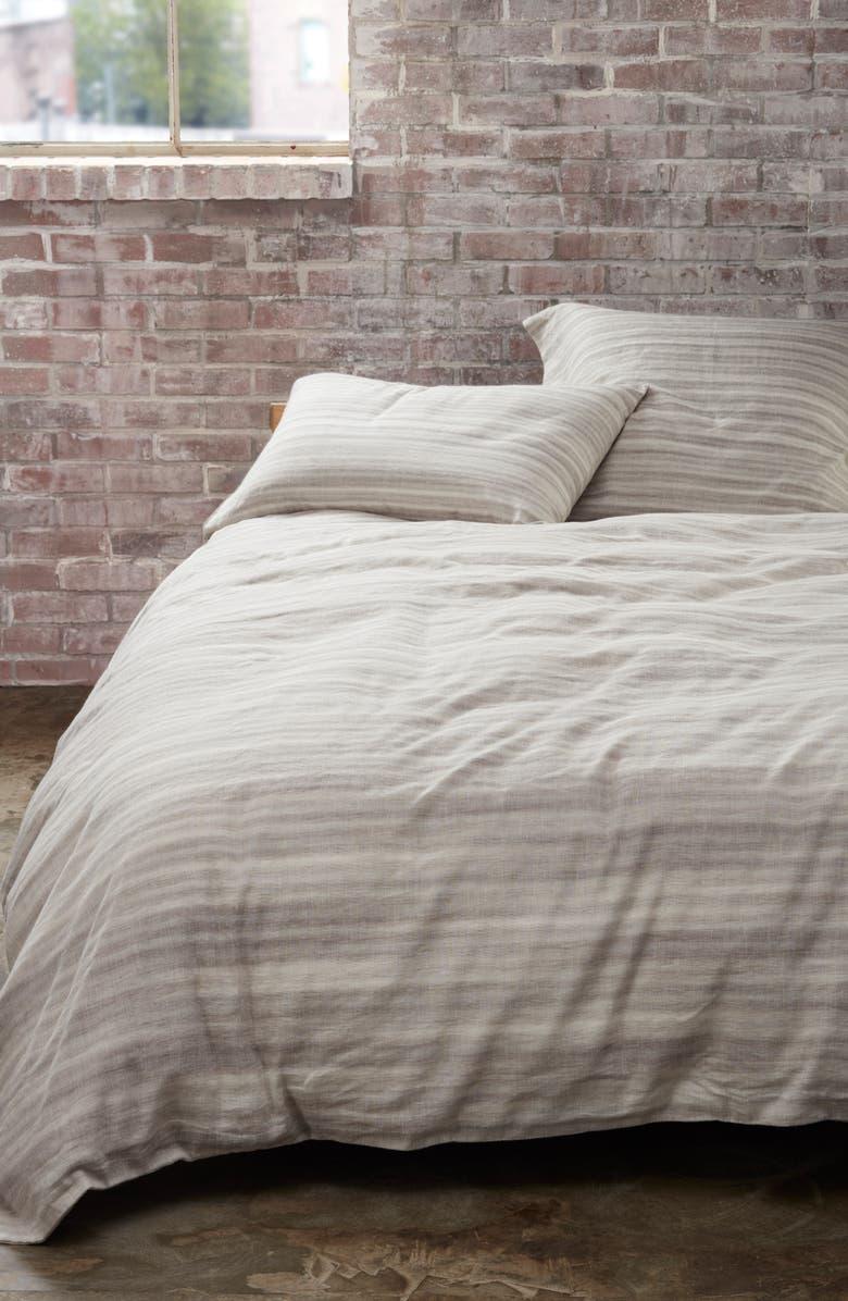 TREASURE & BOND Sandstone Stripe Duvet Cover, Main, color, GREY OWL MULTI