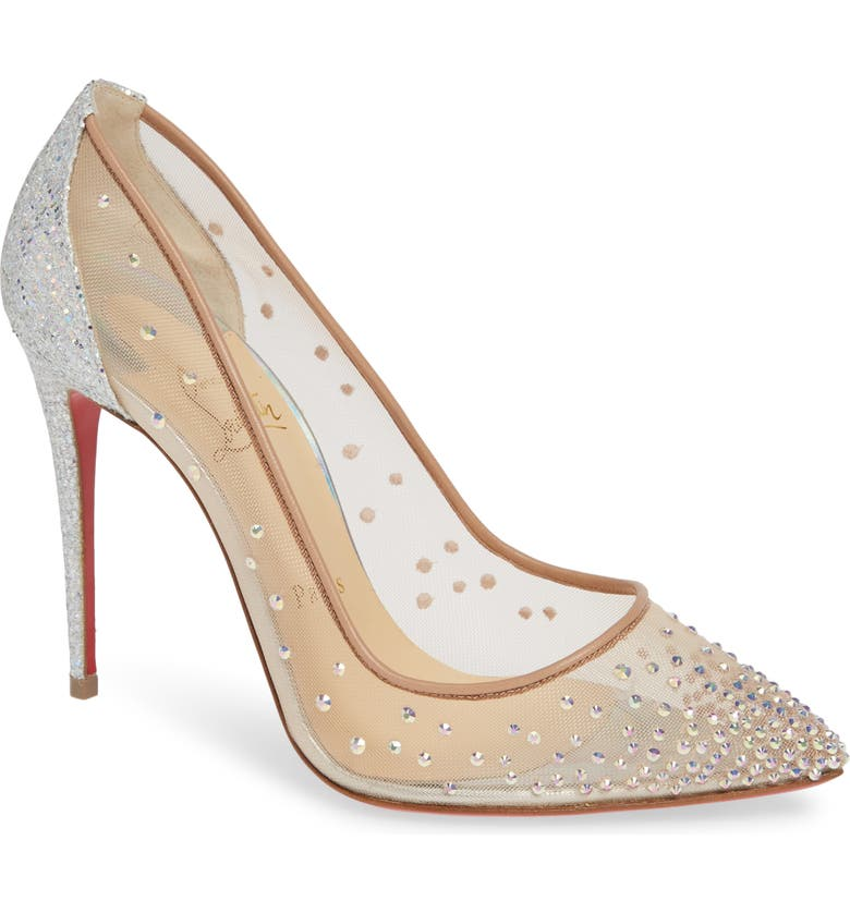 CHRISTIAN LOUBOUTIN Follies Strass Pointy Toe Pump, Main, color, 043