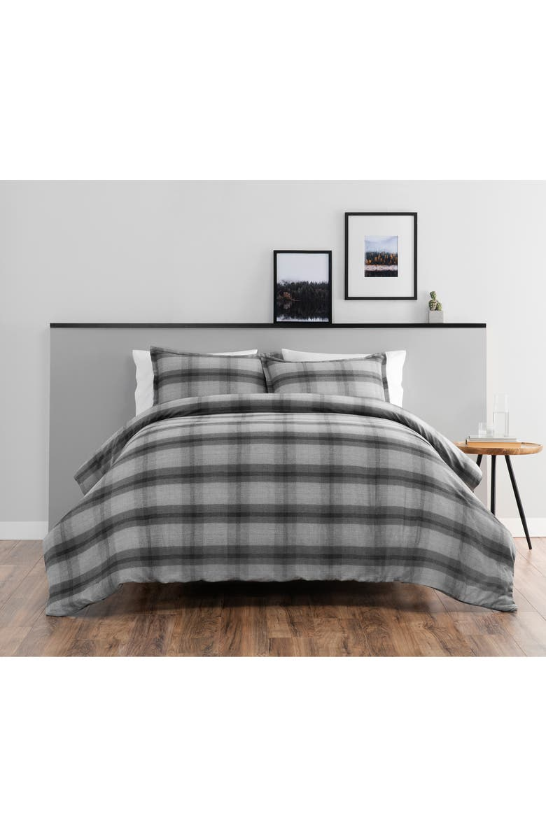 PENDLETON Hawthorne Plaid Comforter & Sham Set, Main, color, GREY