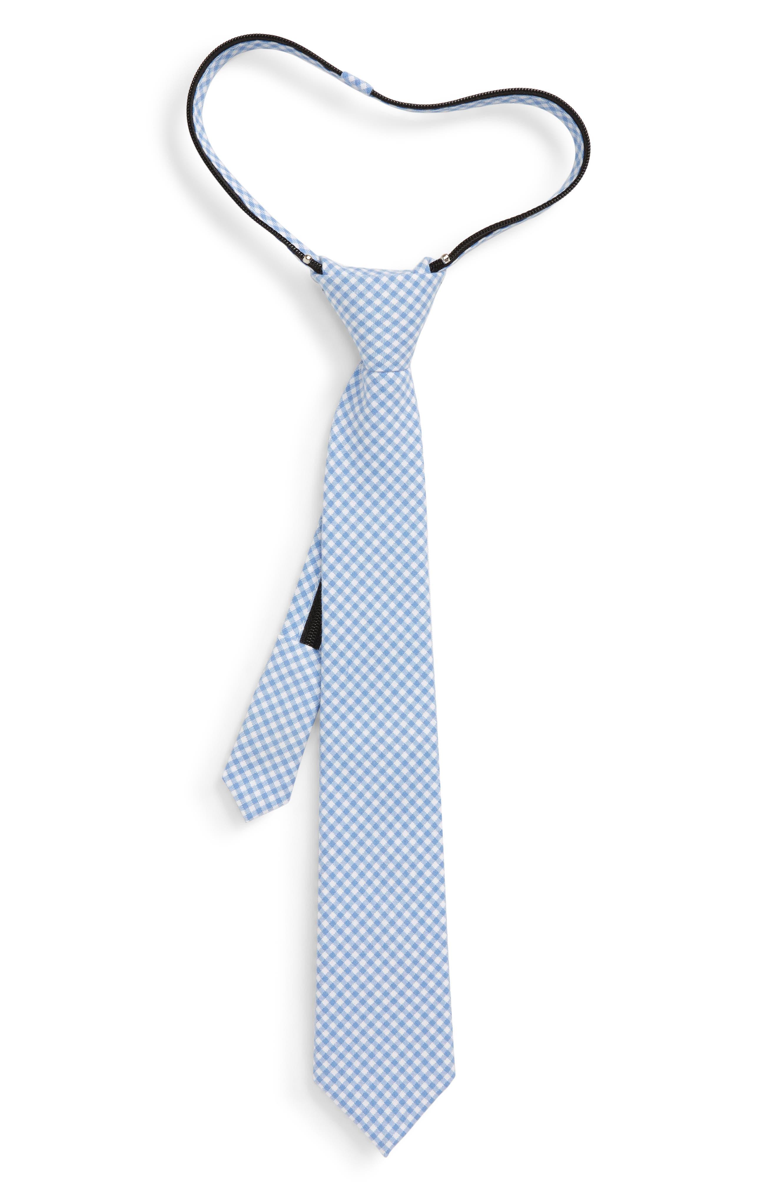 Boys Nordstrom Jasper Check Zip Tie Size Big Boy  Blue