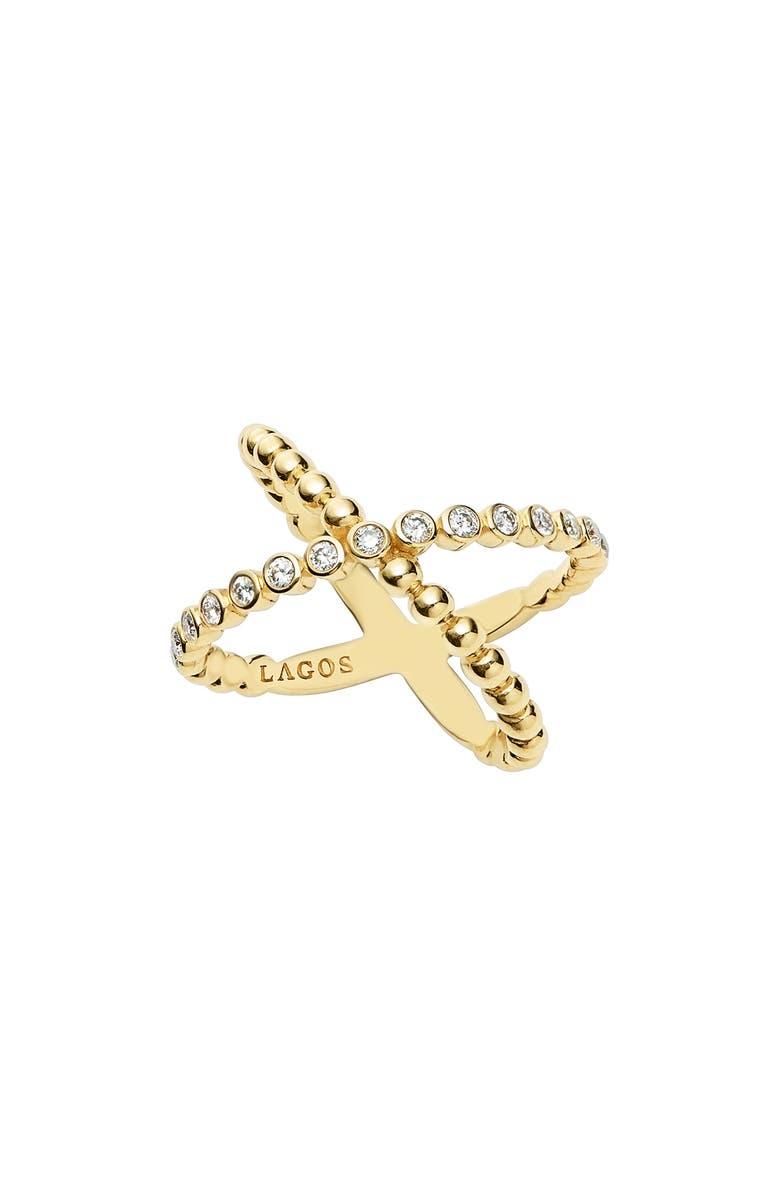 LAGOS Caviar Crisscross Ring, Main, color, Gold
