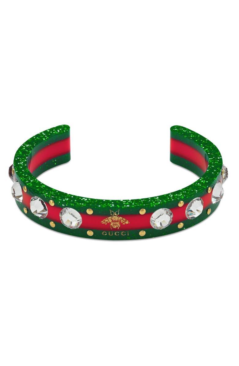 GUCCI Crystal & Stud Stripe Cuff, Main, color, GREEN/ RED