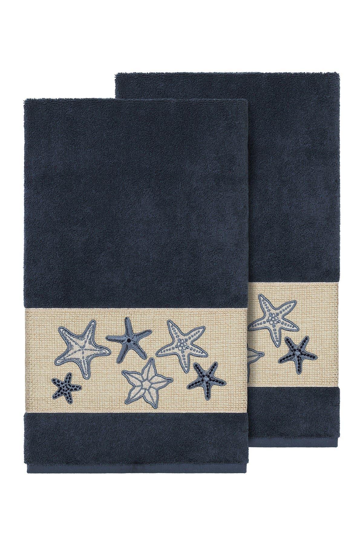 Image of LINUM HOME Lydia Embellished Bath Towel - Set of 2 - Midnight Blue