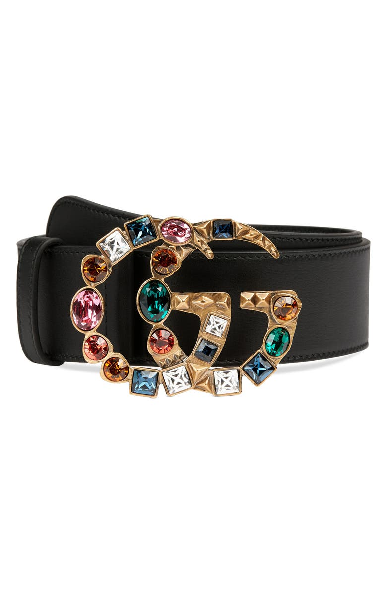 GUCCI GG Crystal Buckle Leather Belt, Main, color, 001