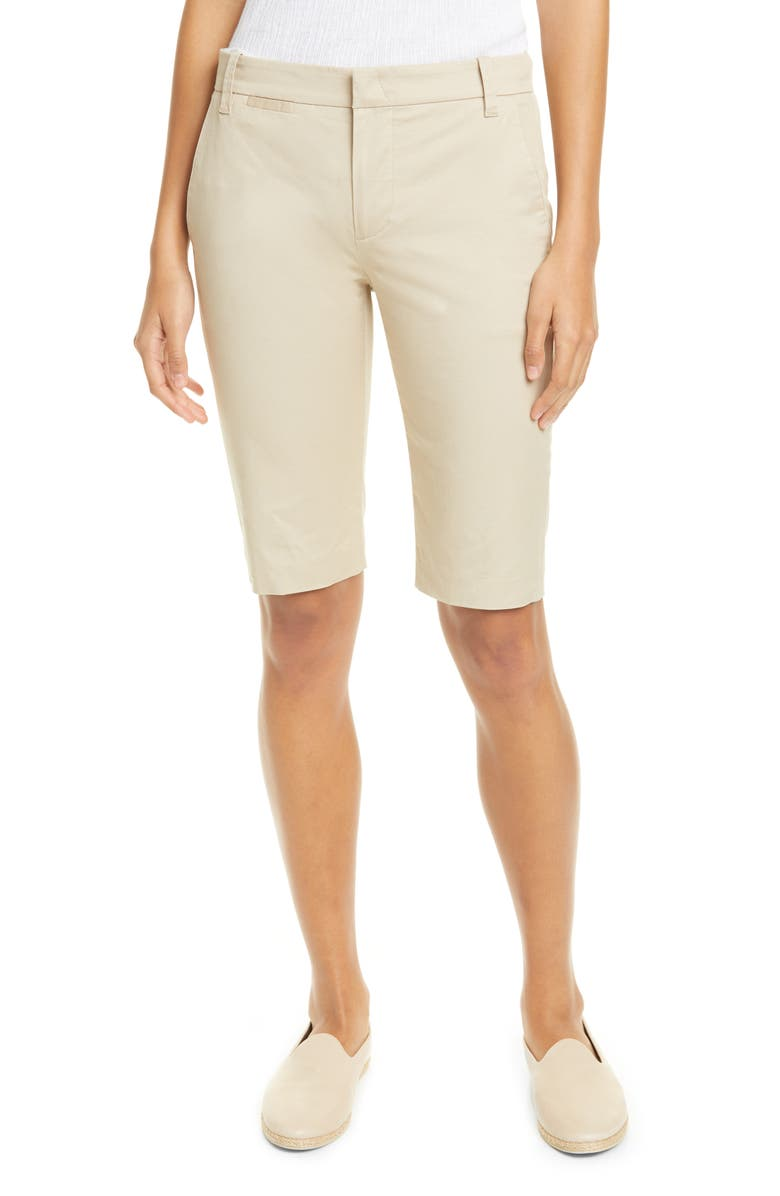 VINCE Coin Pocket Stretch Cotton Bermuda Shorts, Main, color, LATTE