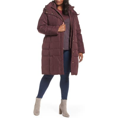 Plus Size Cole Haan Signature Bib Inset Coat, Red