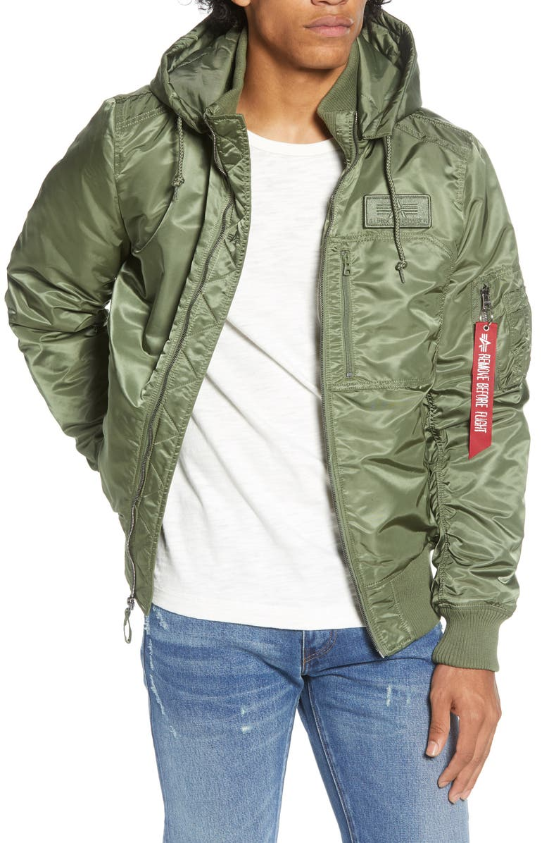 ALPHA INDUSTRIES MA-1 Hooded Water Resistant Bomber Jacket, Main, color, SAGE