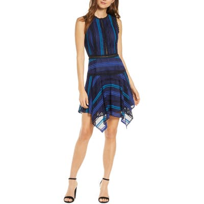 Adelyn Rae Kirstyn Stripe Lace Cocktail Dress, Blue