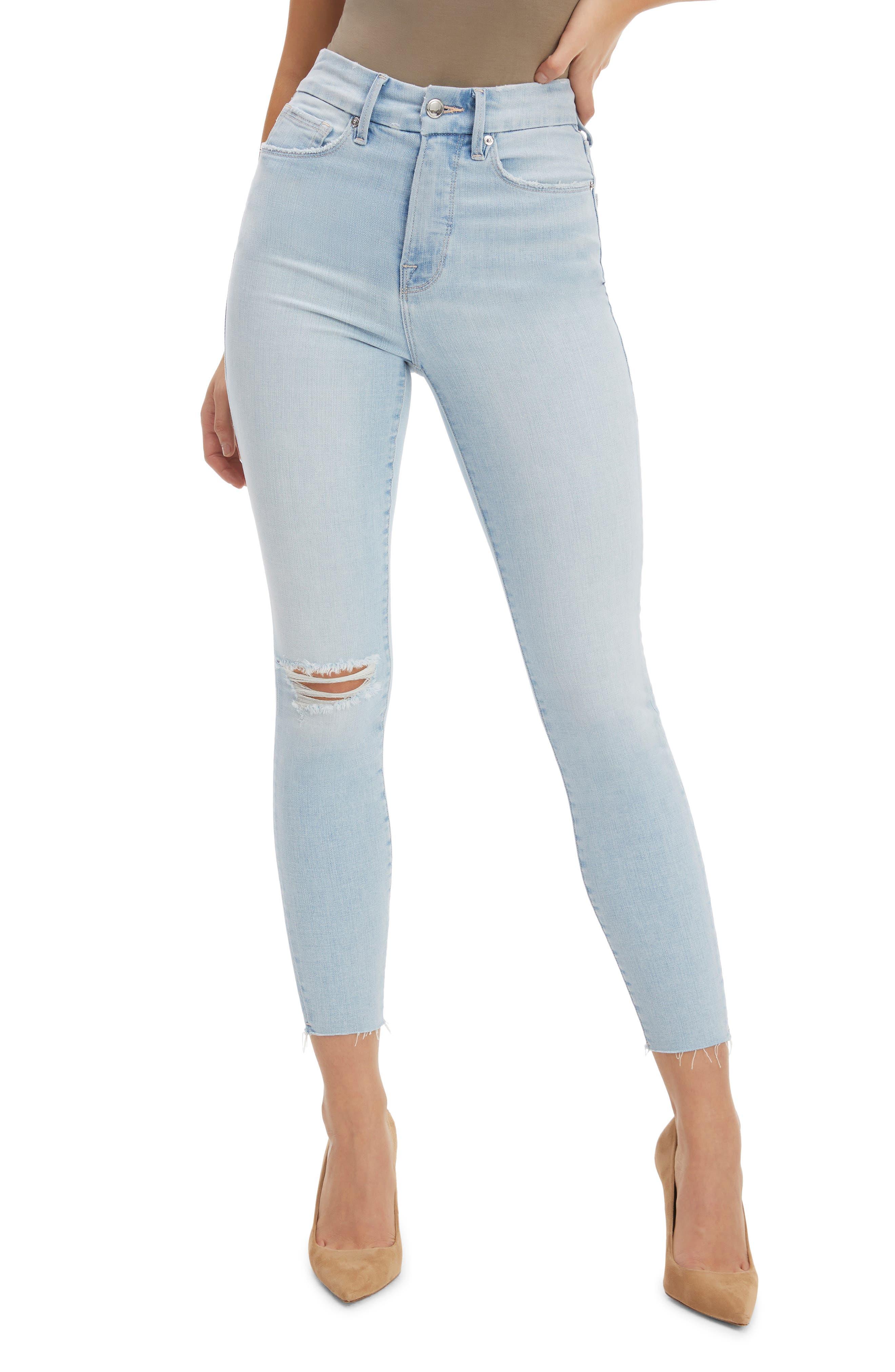 Women's Good American Good Waist Raw Edge Crop Skinny Jeans