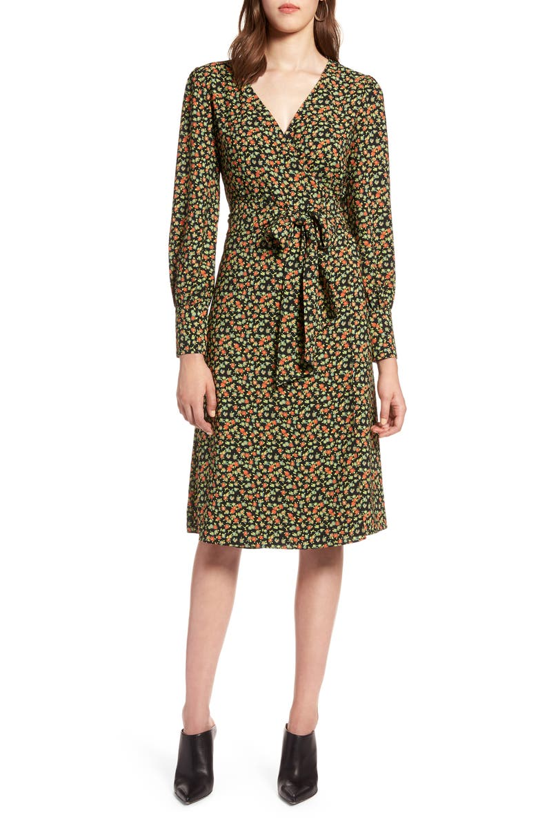HALOGEN<SUP>®</SUP> Long Sleeve Wrap Dress, Main, color, 001