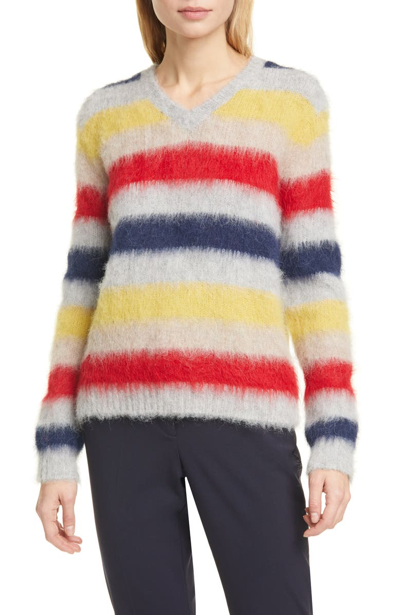 THEORY Stripe Alpaca Blend Sweater, Main, color, GREY HEATHER MULTI