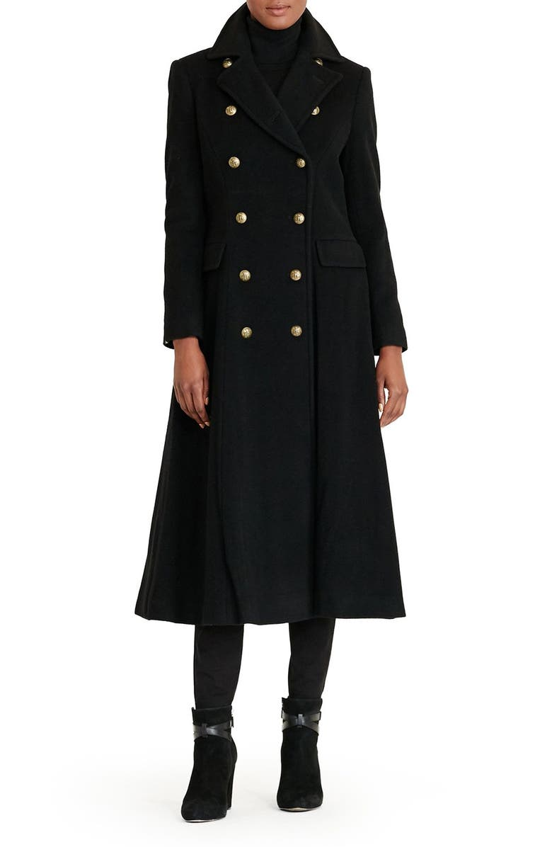 LAUREN RALPH LAUREN Double Breasted Military Maxi Coat, Main, color, BLACK