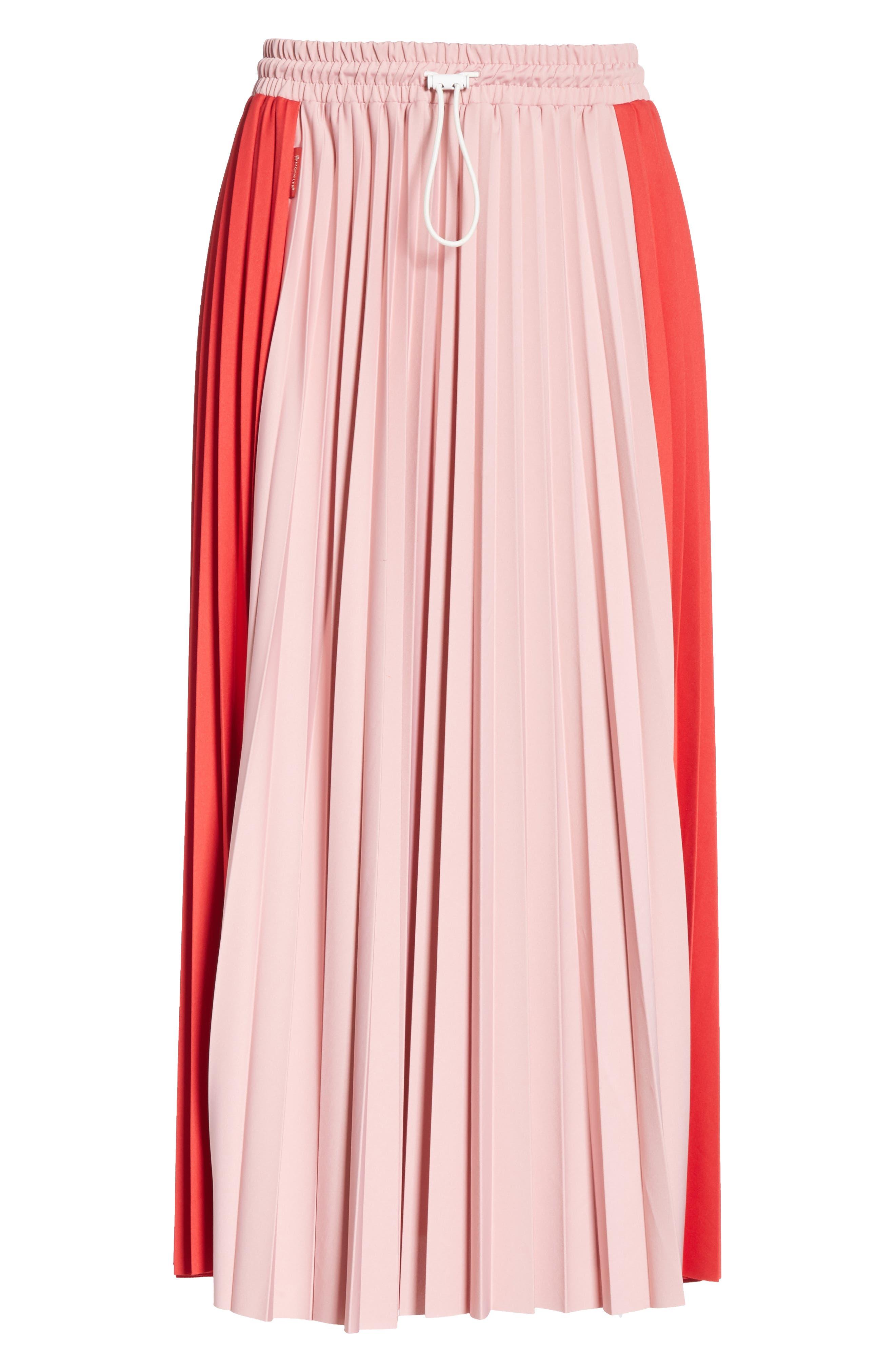 ,                             Colorblock Pleated Skirt,                             Alternate thumbnail 6, color,                             MEDIUM RED