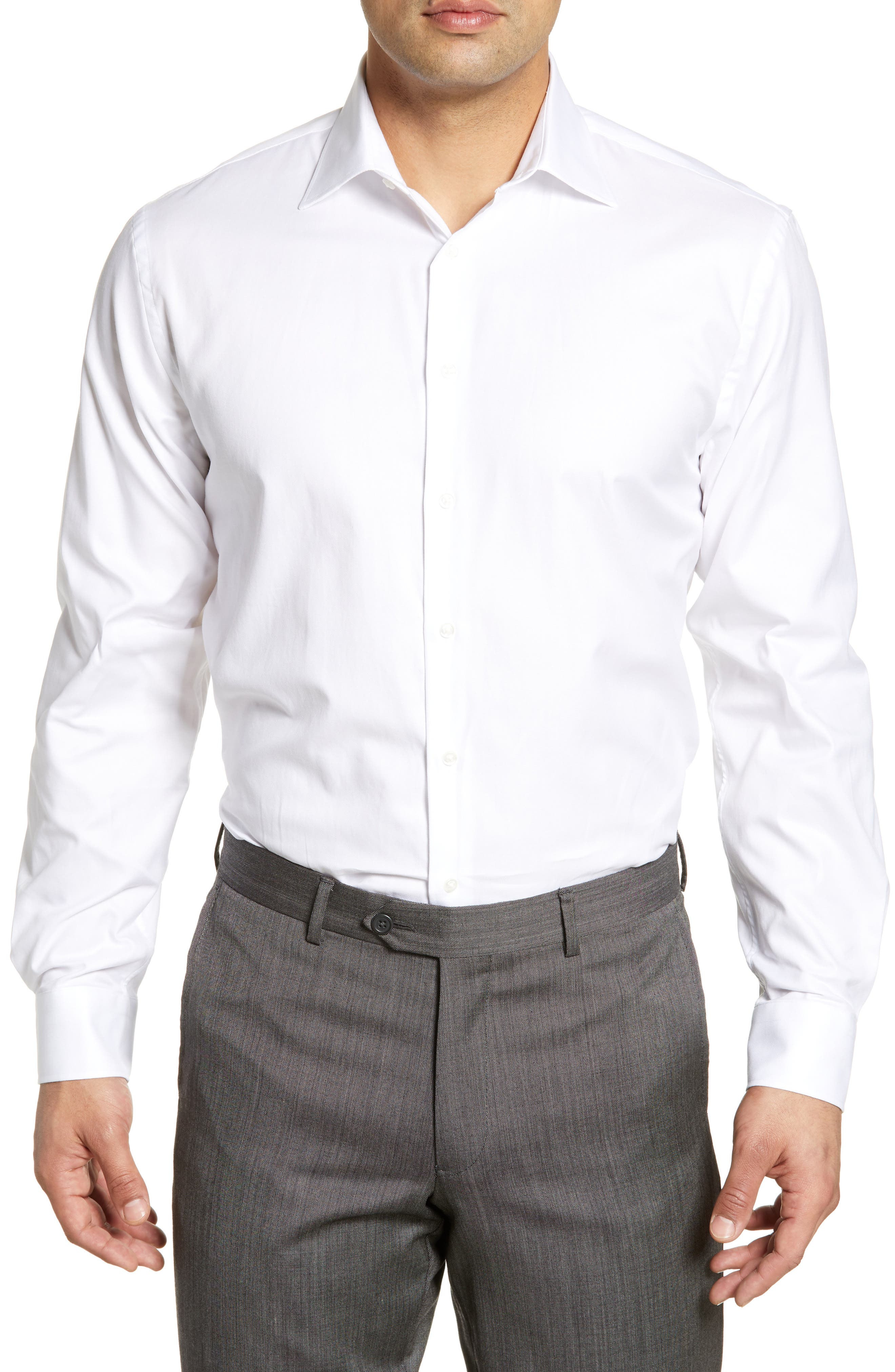 A fine twill texture marks a charming dress shirt featuring a smart spread collar and rounded, adjustable button cuffs. Style Name: Nordstrom Men\'s Shop Traditional Fit Solid Dress Shirt. Style Number: 5672203. Available in stores.