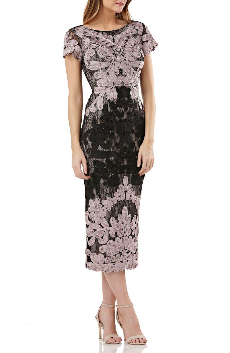 JS COLLECTIONS Soutache Lace Midi Dress, Main, color, 002