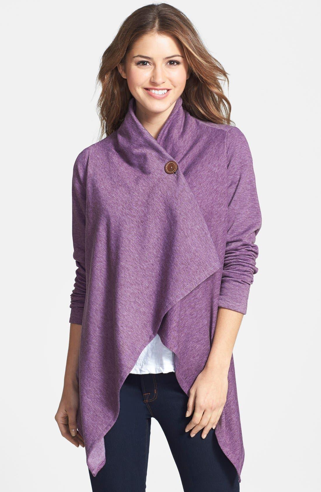 ,                             One-Button Fleece Wrap Cardigan,                             Main thumbnail 176, color,                             551