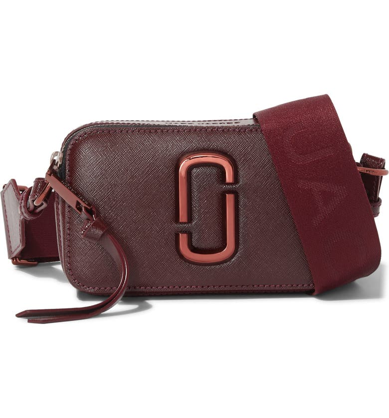 THE MARC JACOBS MARC JACOBS Snapshot Leather Crossbody Bag, Main, color, WINE