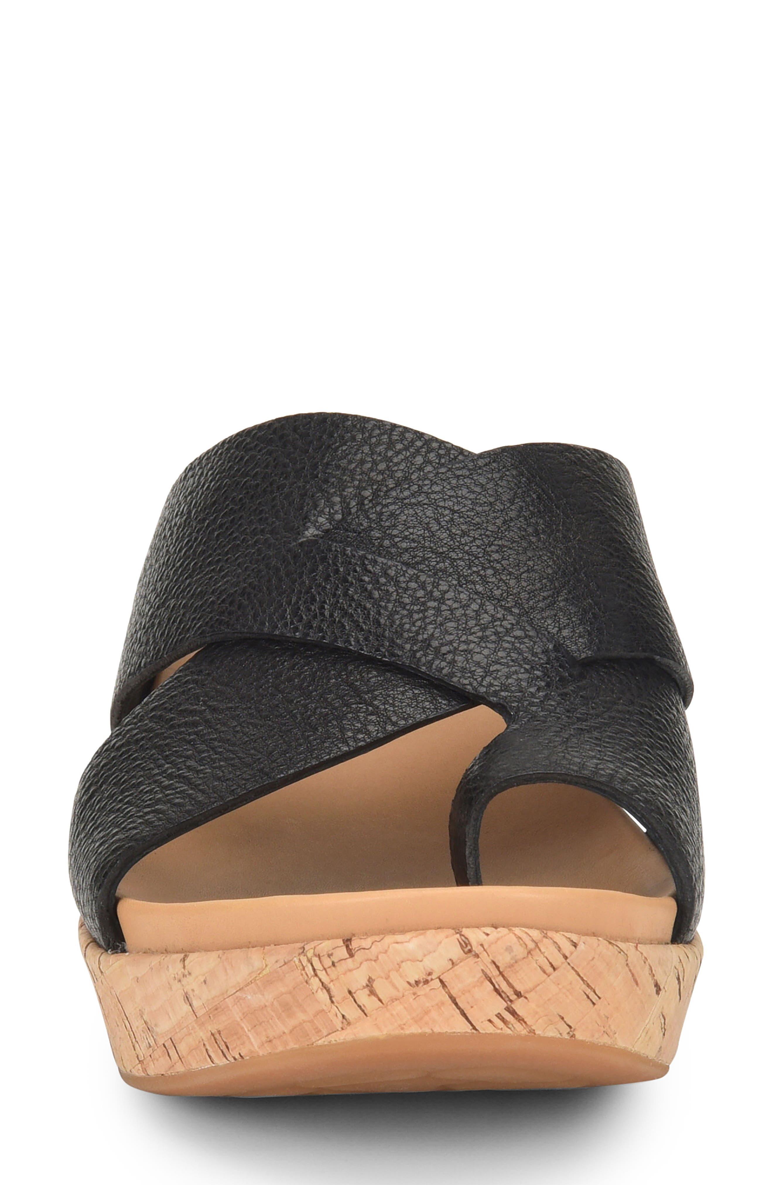 ,                             Baja Wedge Slide Sandal,                             Alternate thumbnail 4, color,                             BLACK LEATHER