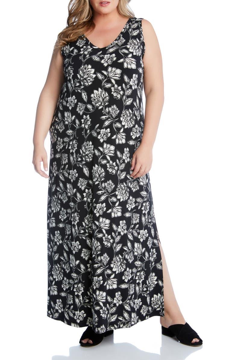 KAREN KANE Floral V-Neck Maxi Dress, Main, color, 001