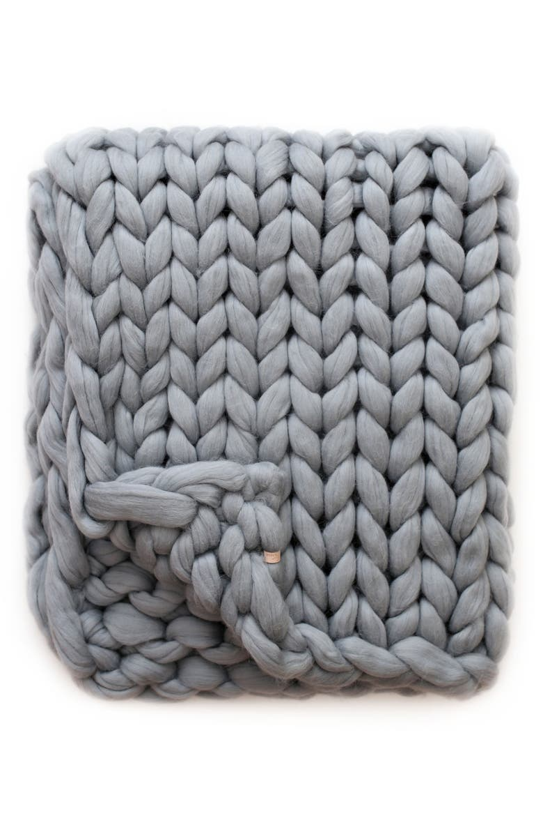 LANE AND MAE Merino Wool Blanket, Main, color, WINTER GRAY