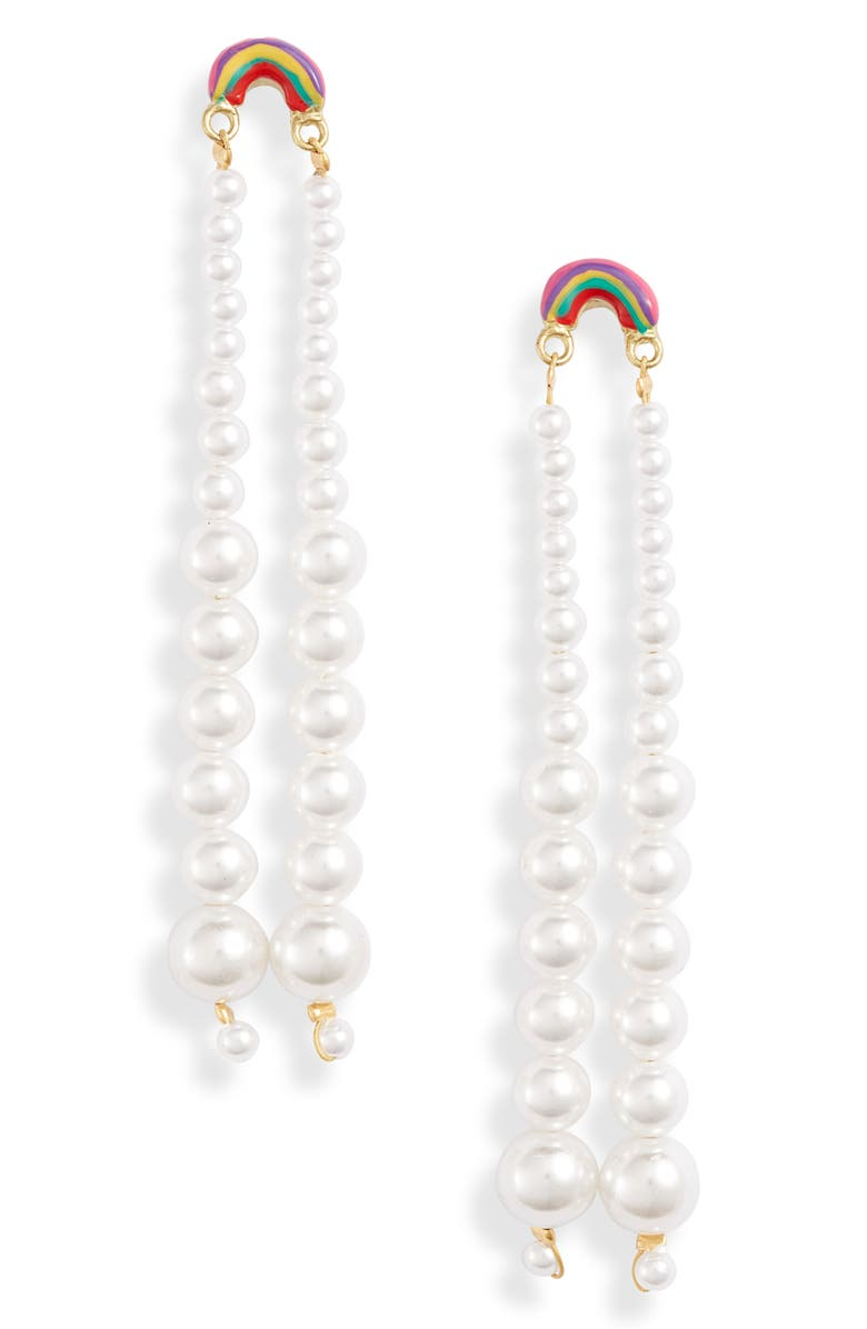 SUSAN ALEXANDRA Rainbow Drip Imitation Pearl Earrings, Main, color, MULTI
