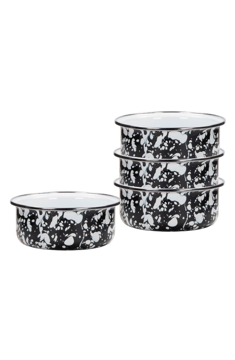 GOLDEN RABBIT Swirl Set of 4 Soup Bowls, Main, color, BLACK