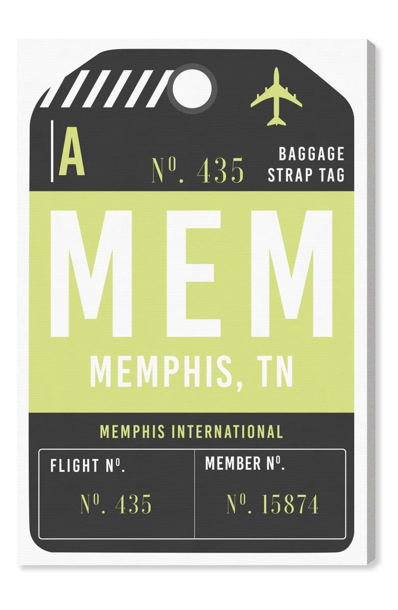 OLIVER GAL Memphis Luggage Tag Wall Art, Main, color, GREEN