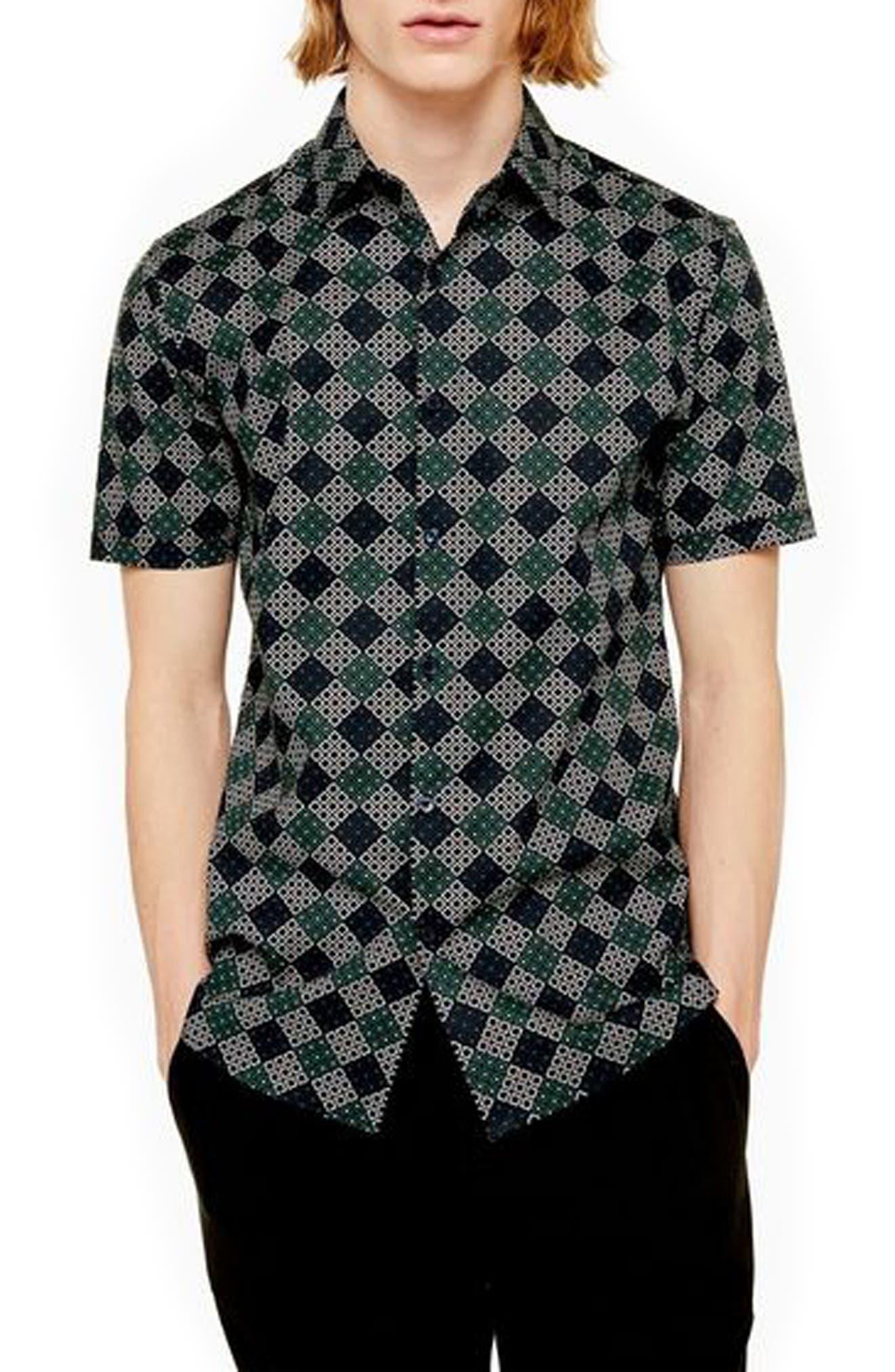 Retro Clothing for Men | Vintage Men's Fashion Mens Topman Trim Fit Geometric Print Short Sleeve Button-Up Shirt $55.00 AT vintagedancer.com