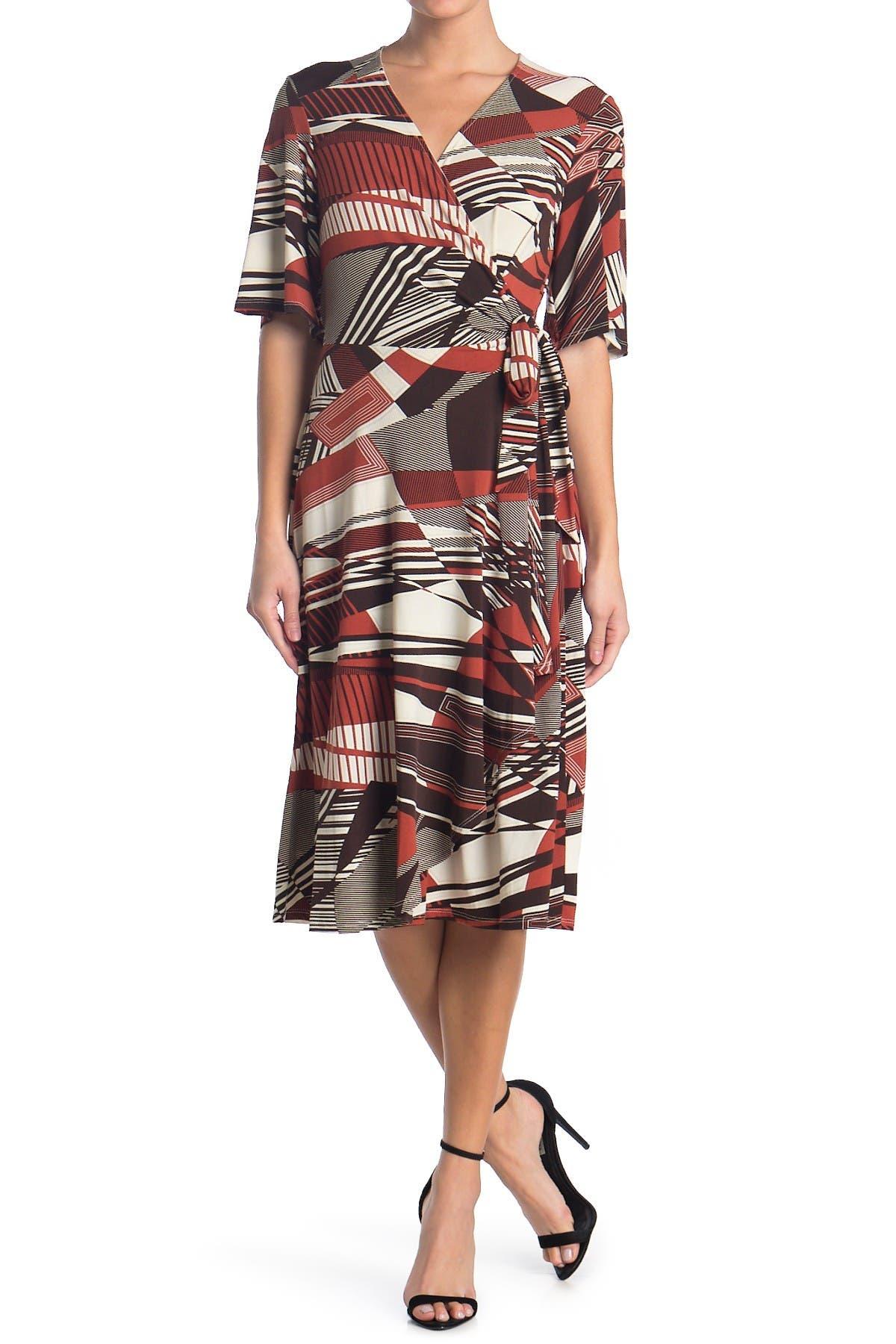 Image of Robbie Bee Printed Wrap Midi Dress