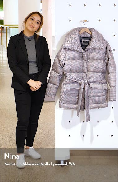 Herringbone Print Belted Puffer Coat, sales video thumbnail