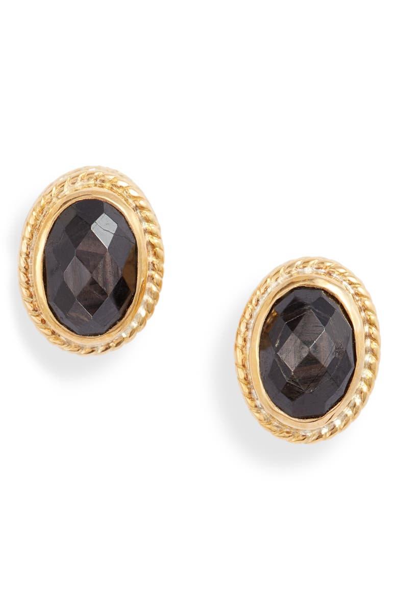 ANNA BECK Stone Oval Stud Earrings, Main, color, 001