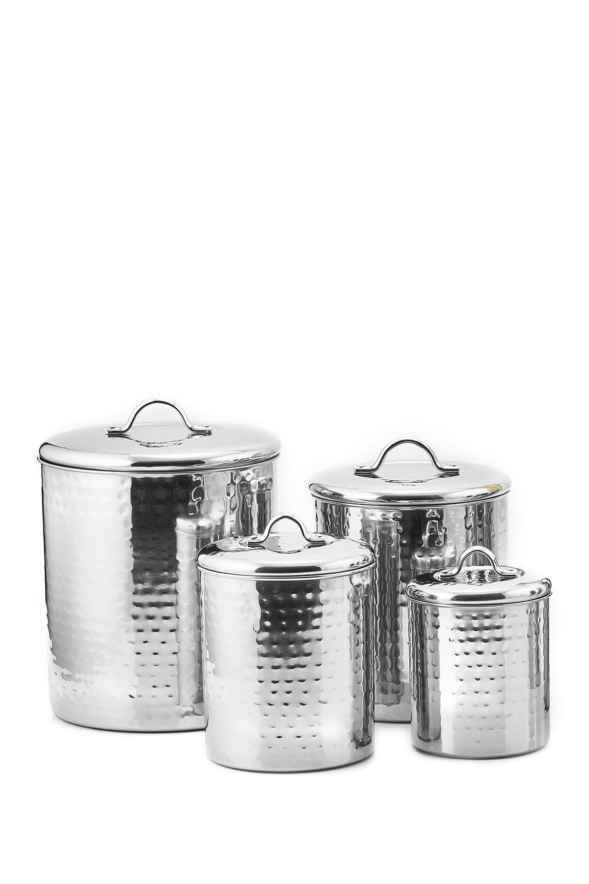 Image of ODI HOUSEWARES Hammered Stainless Steel Canister 4-Piece Set