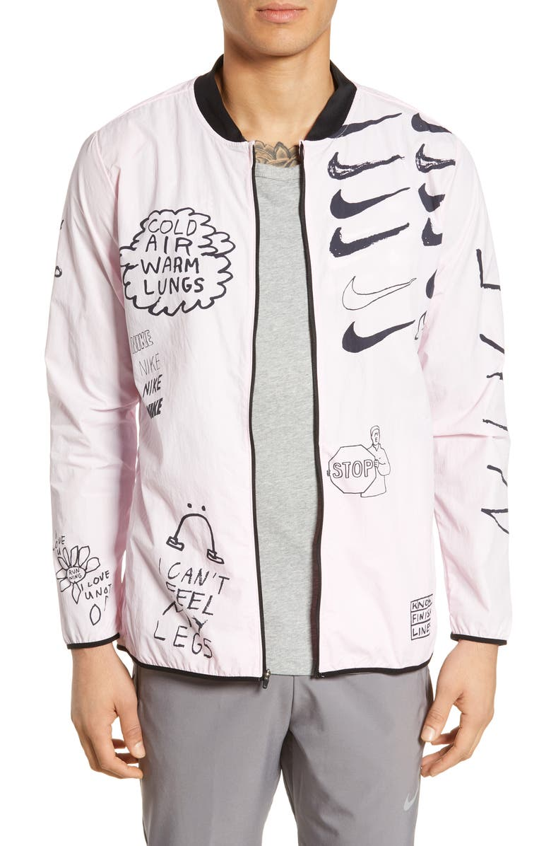 NIKE x Nathan Bell Water Repellent Printed Running Jacket, Main, color, PINK FOAM
