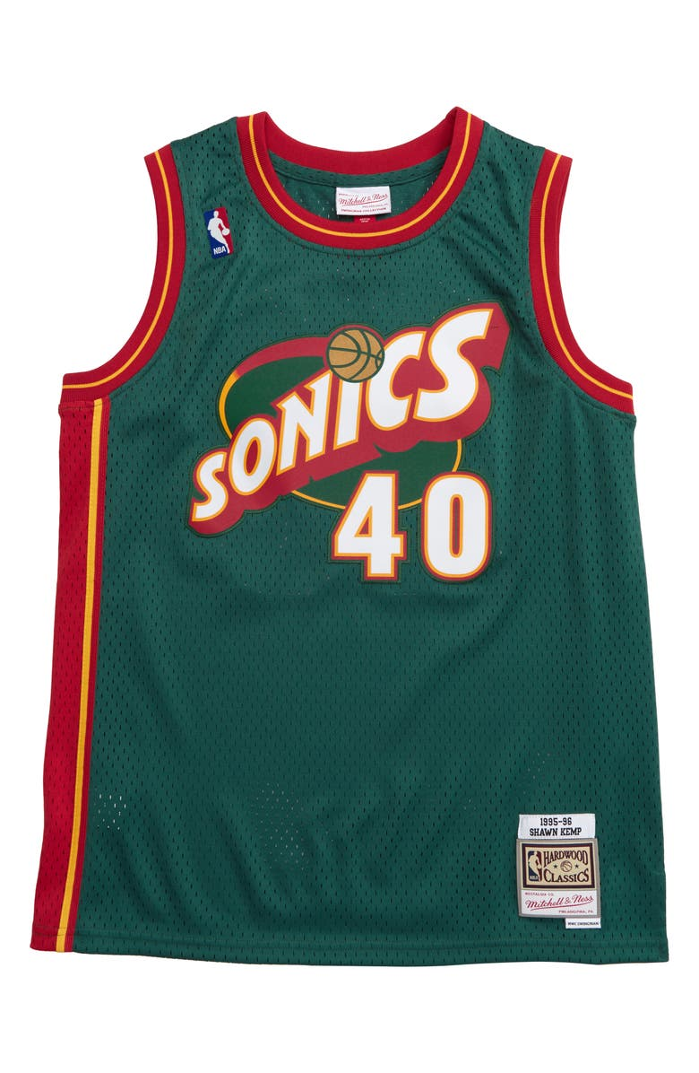 MITCHELL & NESS Swingman Seattle SuperSonics Shawn Kemp Basketball Jersey, Main, color, 300