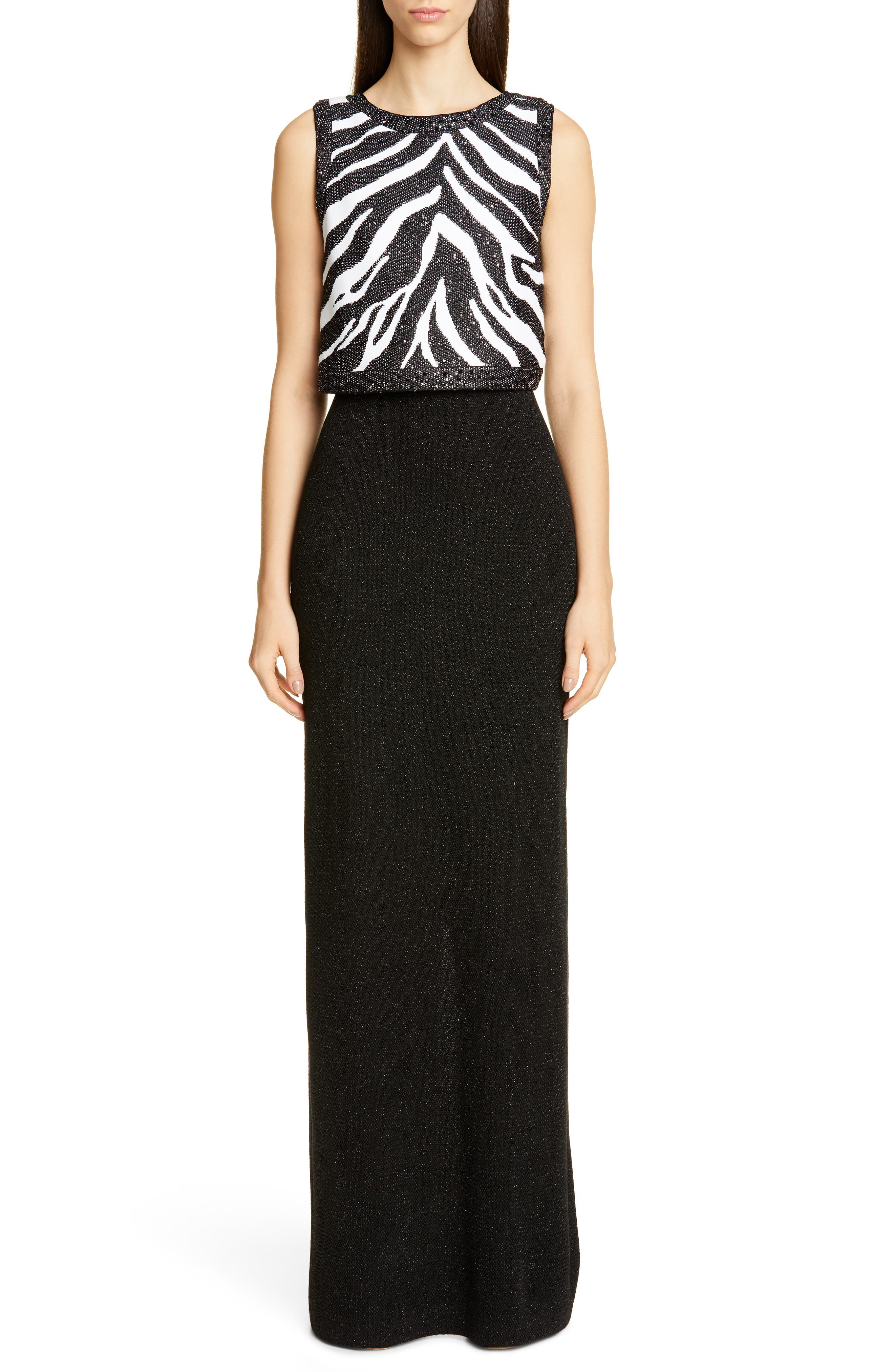 St. John Collection Sequin Zebra Jacquard Knit Column Gown, Black