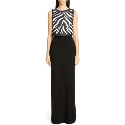 St. John Collection Sequin Zebra Jacquard Knit Column Gown, (similar to 1) - Black