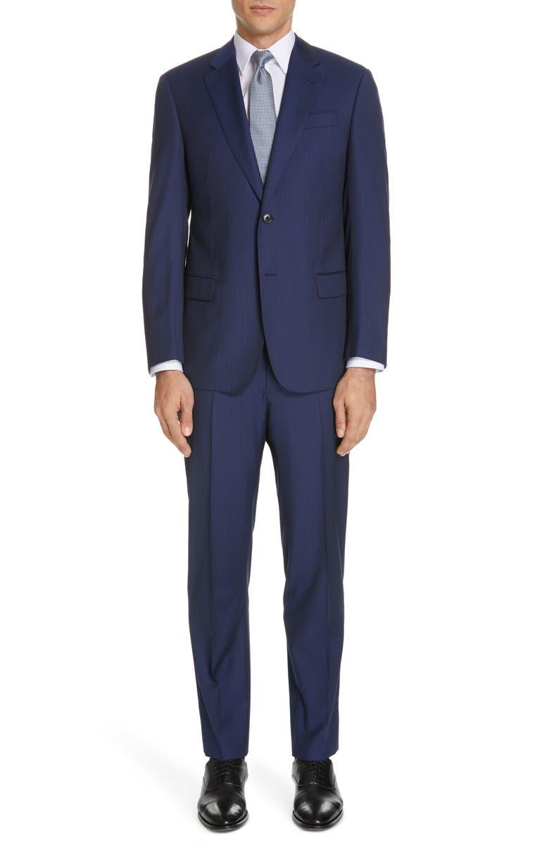 EMPORIO ARMANI Trim Fit Stripe Wool Suit, Main, color, 424