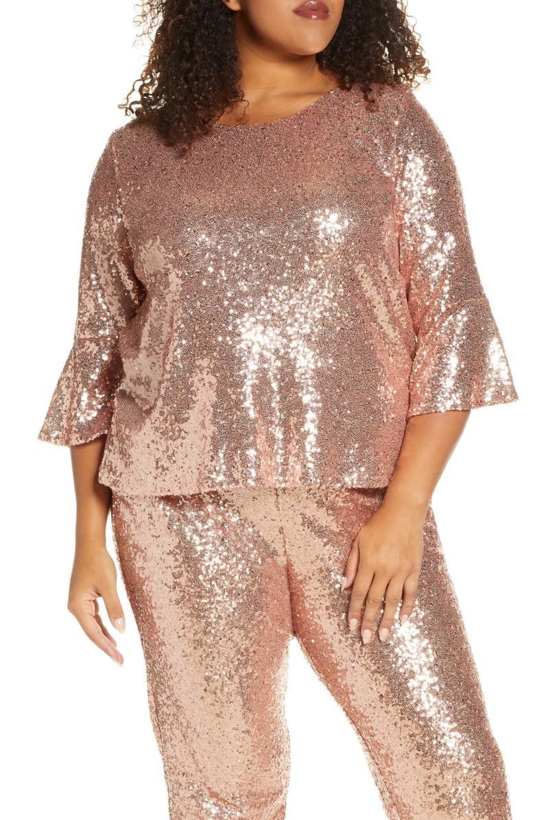 GIBSON x Glam Living in Yellow Bell Sleeve Sequin Top, Main, color, BLUSH