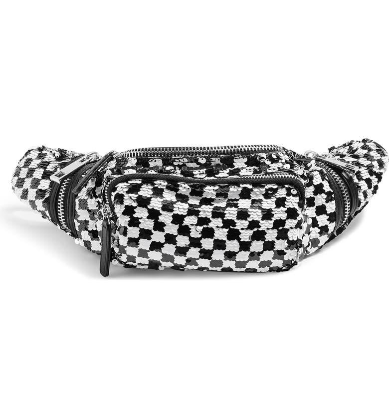 TOPSHOP Check Sequin Belt Bag, Main, color, 002