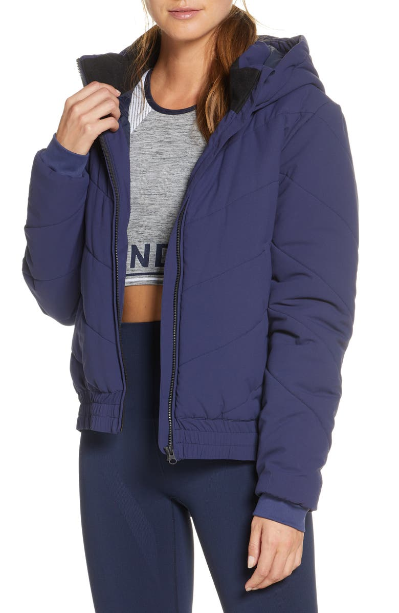 LNDR Snow Water Repellent Hooded Jacket, Main, color, NAVY PEACOAT