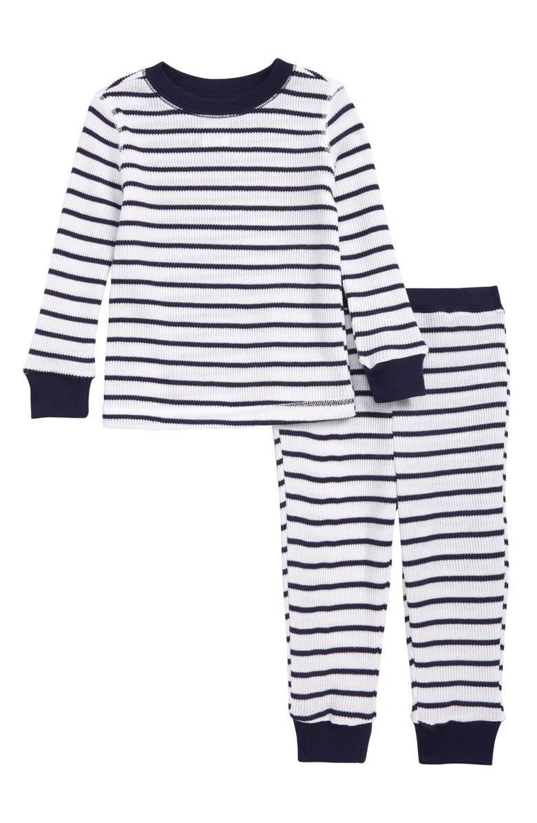 SOMETHING NAVY Fitted Thermal Two-Piece Pajamas, Main, color, 100
