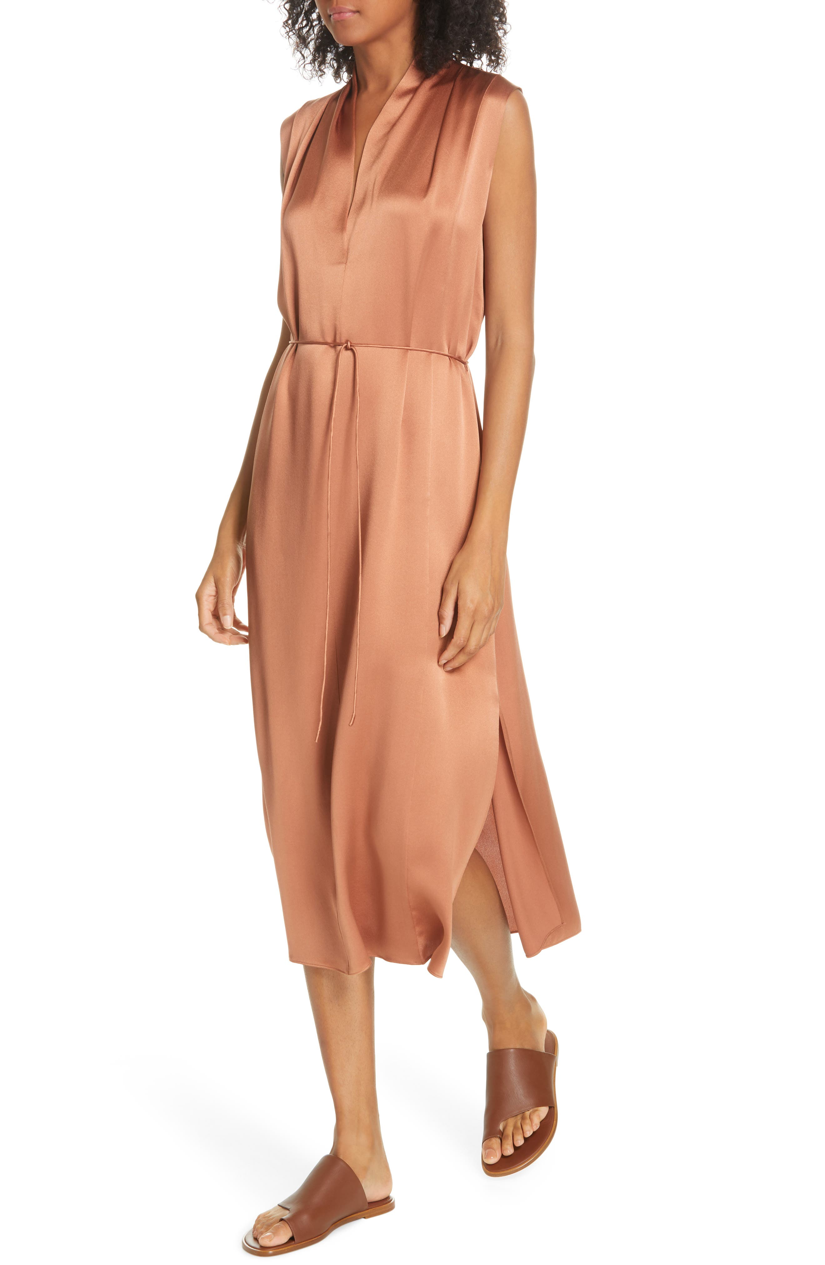,                             Midi Silk Dress,                             Alternate thumbnail 5, color,                             CLIFF EMBER