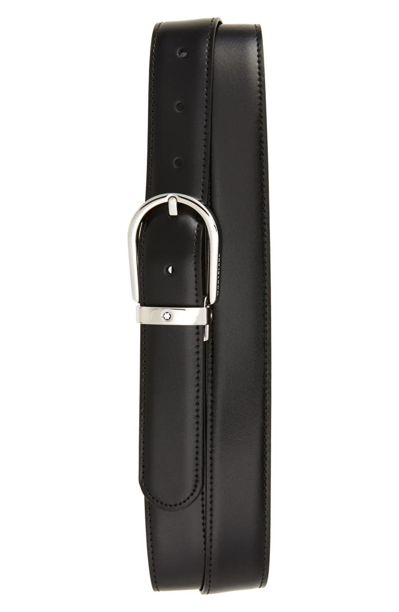 MONTBLANC Horseshoe Buckle Reversible Leather Belt, Main, color, BLACK/ BROWN