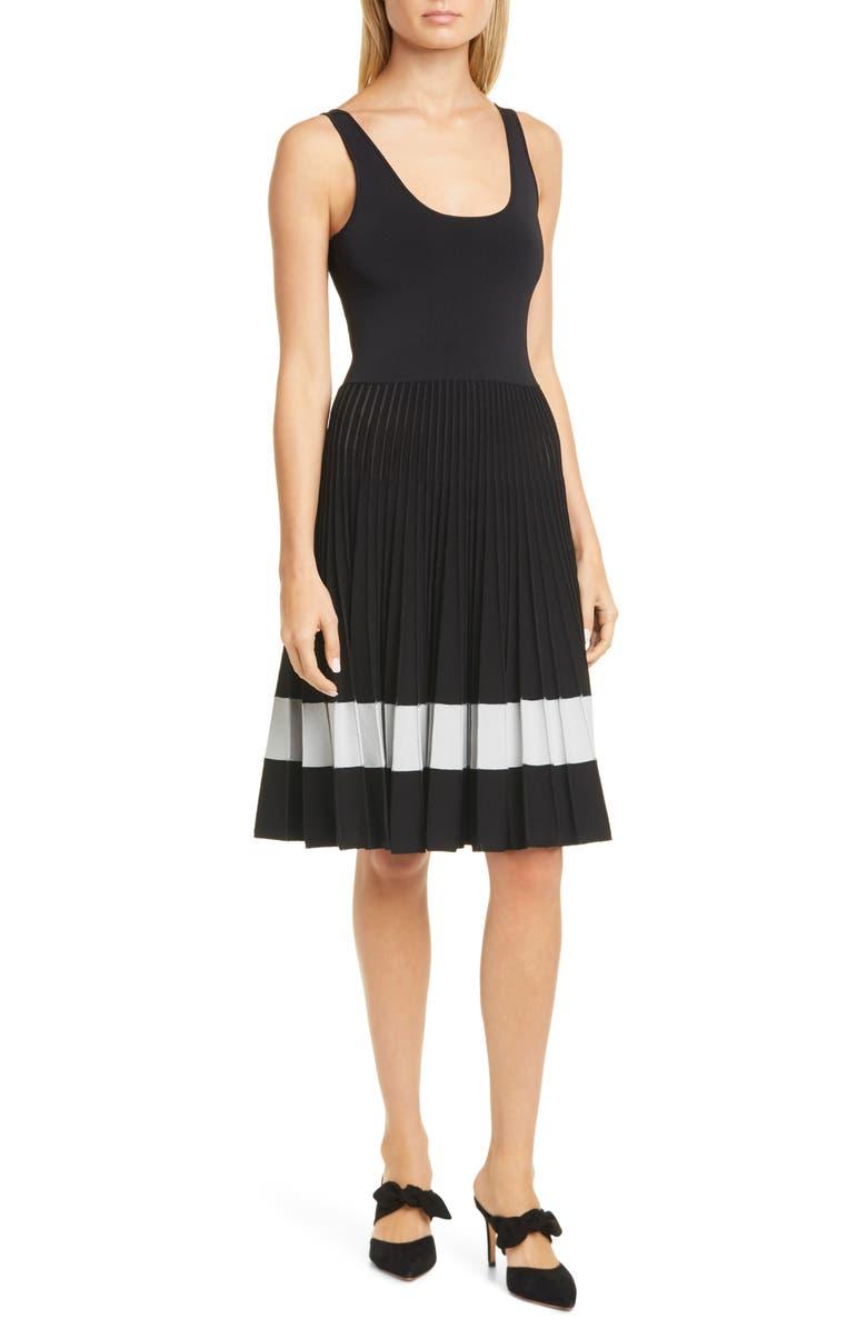 THEORY Pleated Tank Dress, Main, color, BLACK/ MIST BLUE